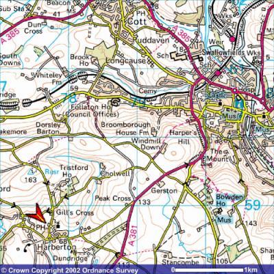 South Devon England Map.Harberton South Devon Maps